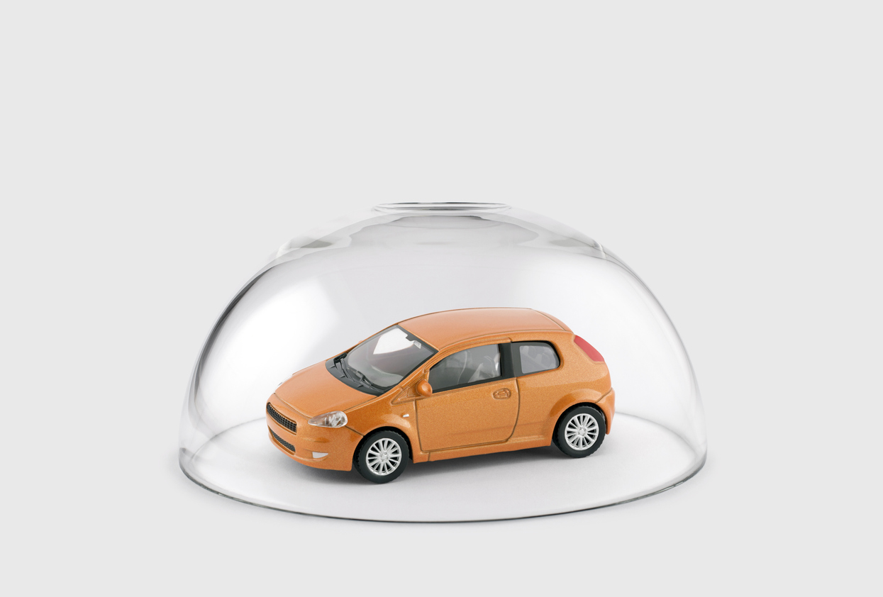car under a glass dome