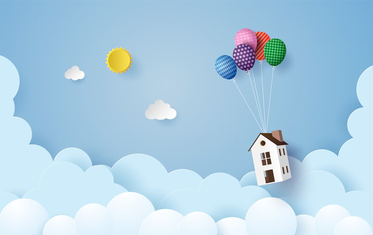 a house floating in the sky beneath balloons